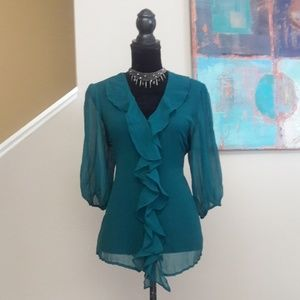 George/ Turquoise/ Sheer/ Ruffle Blouse